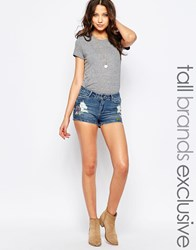 Noisy May Tall Embroidered Denim Short Blue