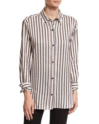Isabel Marant Manray Striped Button Down Blouse Black Red Black Red