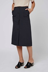 Button Midi Skirt By Boutique Navy Blue