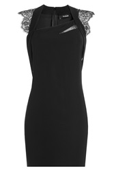 The Kooples Cocktail Dress With Lace Short Sleeves Black