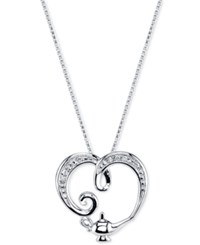 Disney Genie Lamp Crystal Pendant Necklace In Sterling Silver