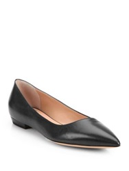 Giorgio Armani Asymmetrical Leather Ballet Flats Solid Black
