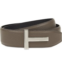 Tom Ford T Buckle Reversible Grained Leather Belt Blk Slate