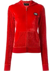 Philipp Plein 'Skull Nation' Hoodie Red