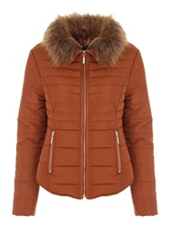 Jane Norman Fur Collar Short Padded Coat Tan