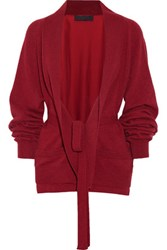 Haider Ackermann Satin Paneled Wool And Cashmere Blend Cardigan Burgundy