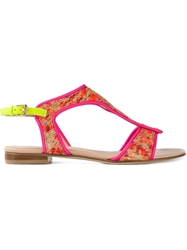 Markus Lupfer Brocade Sandals Pink And Purple
