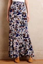 Twelfth St. By Cynthia Vincent Wrapped Silk Maxi Skirt Blue Motif