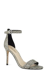 Nine West Women's 'Mana' Ankle Strap Sandal Black White Printed Leather