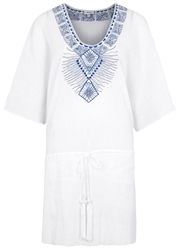 Biondi Fira White Embroidered Cotton Kaftan