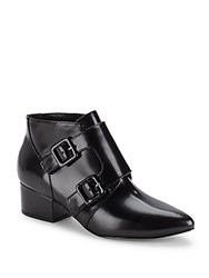 French Connection Point Toe Leather Ankle Boots Black