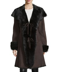 Gorski Shearling Asymmetric Long Coat Brown