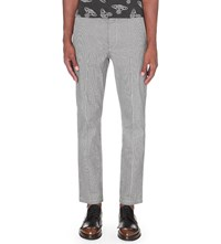 Anglomania Houndstooth Slim Fit Stretch Cotton Chinos Black White