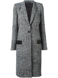 Barbara Bui Herringbone Pattern Coat Black