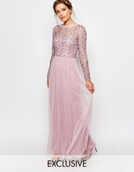 Frock And Frill Embellished Lace Overlay Maxi Dress Blush Pink