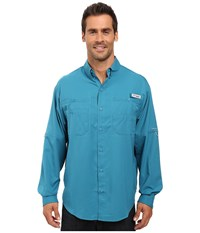 Columbia Tamiami Ii L S Deep Marine Men's Long Sleeve Button Up Blue