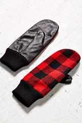 Urban Outfitters Buffalo Check Leather Mitten Red Multi