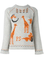 Paul Smith Ps By Giraffe Knit Pattern Jumper Grey