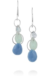 Melissa Joy Manning Silver Tone Multi Stone Earrings Blue
