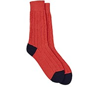 Paul Smith Men's Dixon Cable Stitched Mid Calf Socks Red