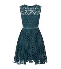 Pinko Embroidered Lace Dress Female Teal