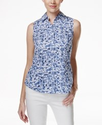 Charter Club Sleeveless Button Down Shirt Floral Print Intrepid Blue Combo