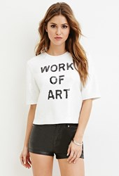 Forever 21 Sequined Art Graphic Top White Black