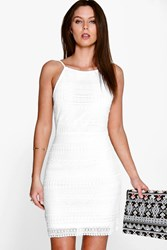 Boohoo Lace Strappy Bodycon Dress Ivory