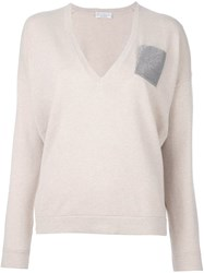 Brunello Cucinelli Chest Pocket V Neck Pullover Nude And Neutrals