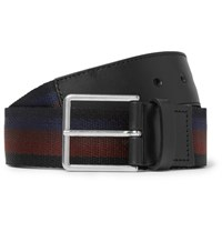 Paul Smith 3.5Cm Leather Trimmed Striped Canvas Belt Black