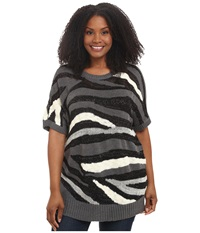 Dkny Plus Size Intarsia Stripe Shine Crop Pullover Charcoal Women's Long Sleeve Pullover Gray