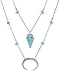 Macy's Silver Tone Double Layer Arrowhead And Crescent Pendant Necklace