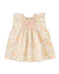 Bonpoint Sleeveless Embroidered Floral Poplin Blouse Yellow Size 3 Months Yellow Floral