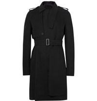 Rick Owens Cotton Gabardine Trench Coat Black