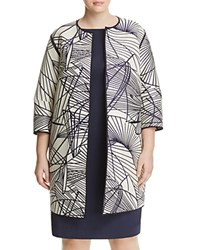 Lafayette 148 New York Plus Reversible Darby Graphic Stripe Jacket Raffia Mul