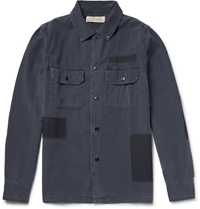 Remi Relief Slim Fit Patchwork Washed Denim Shirt Blue