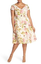 Plus Size Women's Adrianna Papell Floral Print Matelasse Fit And Flare Dress