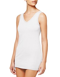 Fine Lines Pure Cotton V Neck Camisole White