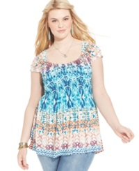 American Rag Plus Size Cap Sleeve Printed Babydoll Top One White