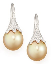 Golden South Sea Pearl And Diamond Drop Earrings White Gold Eli Jewels Blue