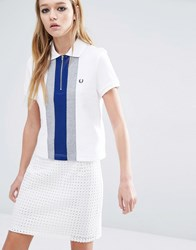 Fred Perry Polo Shirt With Vertical Stripe White