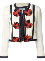 Moschino Vintage Collarless Cropped Jacket Nude And Neutrals