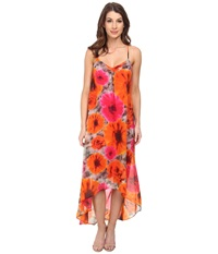 Maggy London Smudge Daisy Printed Chiffon Hi Low Maxi Grey Orange Women's Dress Gray