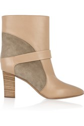 Chloe Suede Paneled Leather Ankle Boots Beige