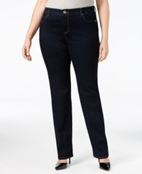 Inc International Concepts Plus Size Slim Tech Straight Leg Jeans Only At Macy's Tikglo Wash
