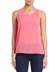 French Connection Sheer Detail Tank Top Ziggy Pink