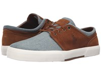 Polo Ralph Lauren Faxon Low Blue Snuff Chambray Sport Suede Men's Lace Up Casual Shoes