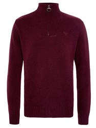 Barbour Essential Lambswool Half Zip Jumper Burgundy