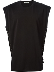 Pierre Balmain Side Lace Up Tank Top Black