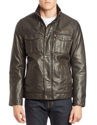Levi's Faux Fur Lined Faux Leather Trucker Jacket Brown